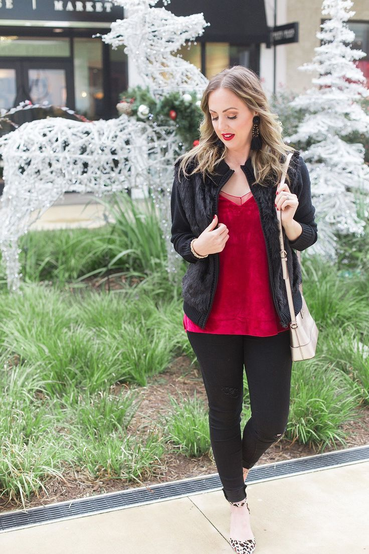 Holiday Outfit Idea   Red Velvet is part of Simple Party Clothes - Houston blogger Meg O  on the Go shares a fun holiday outfit idea that's perfect for all of your dressy casual events and parties  Read more!