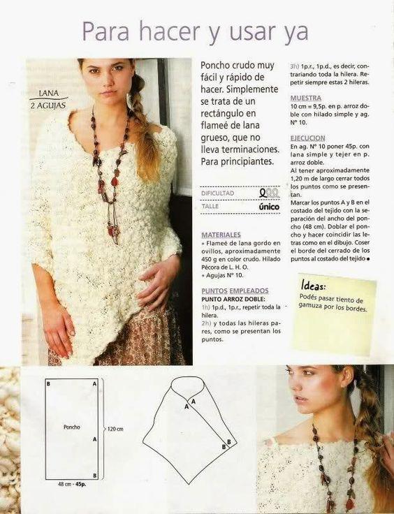 Crochet y dos agujas: Patrones de poncho tejido a dos agujas super ...