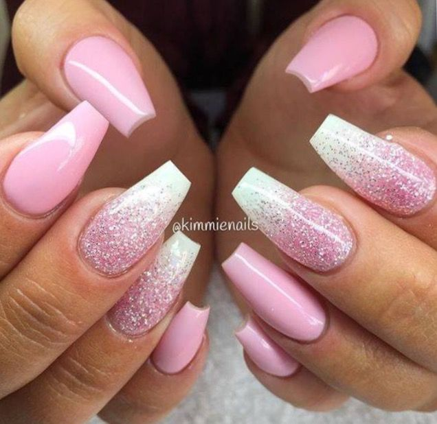 Clear Bottom Color Polish On Top With Shimmer Glitter Wedding Acrylic Nails Gorgeous Nails Pink Nails