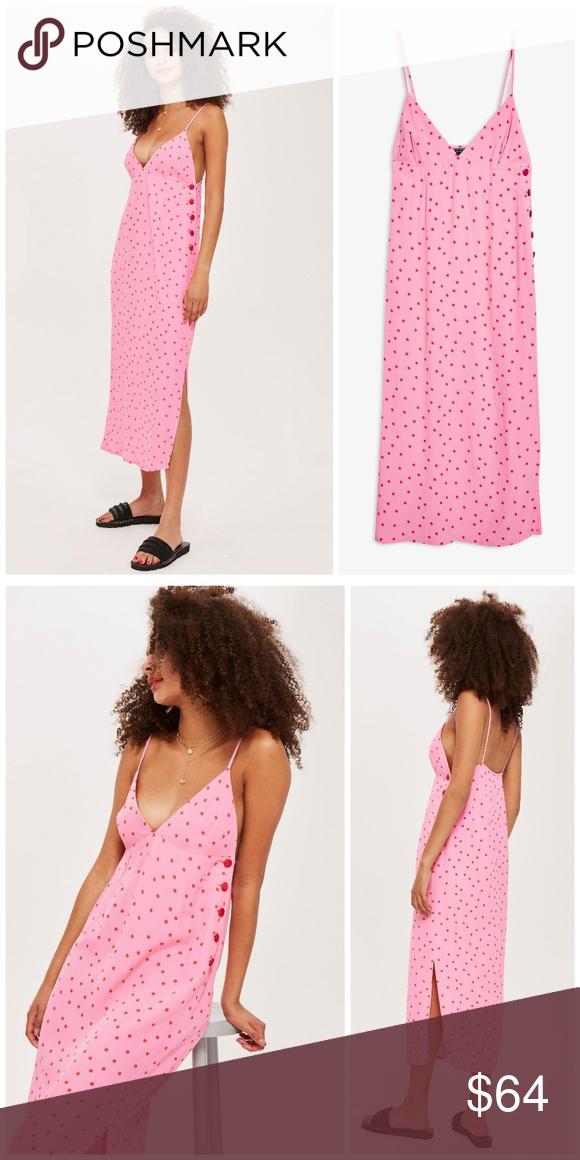 5dfdee341640 NWT, Topshop, Pink Polka Dot Slip Dress Red spots on pink base slip dress