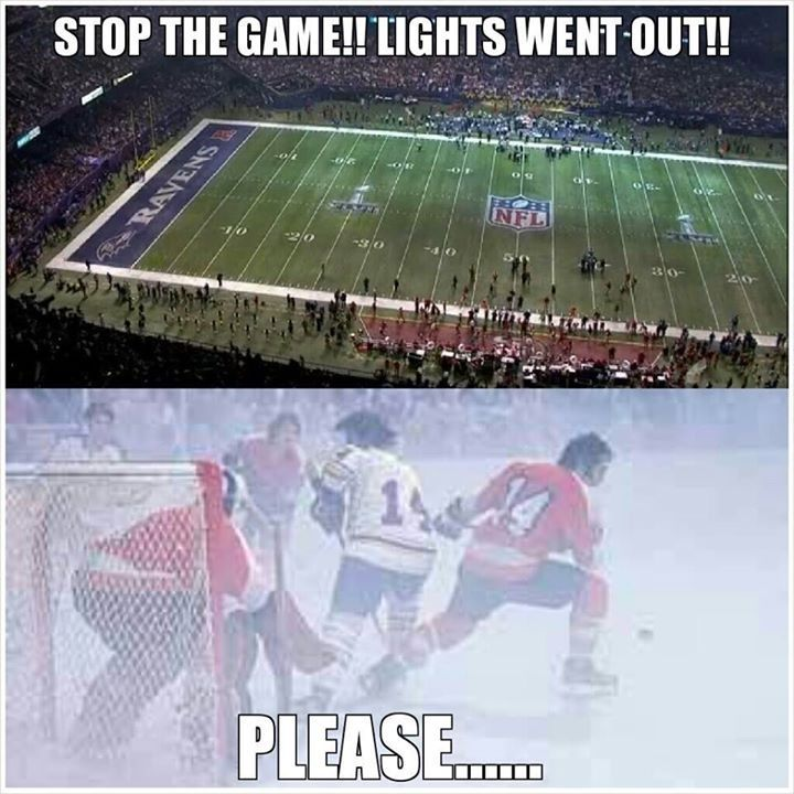 Stop the game! The lights went out. Please.... Hockey memes
