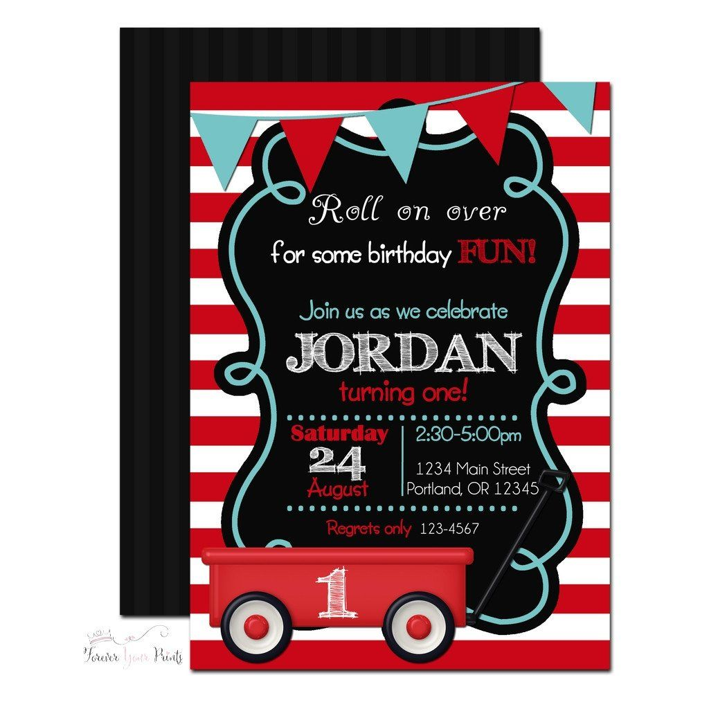 Red Wagon Party Invitation | Red wagon party and Red wagon