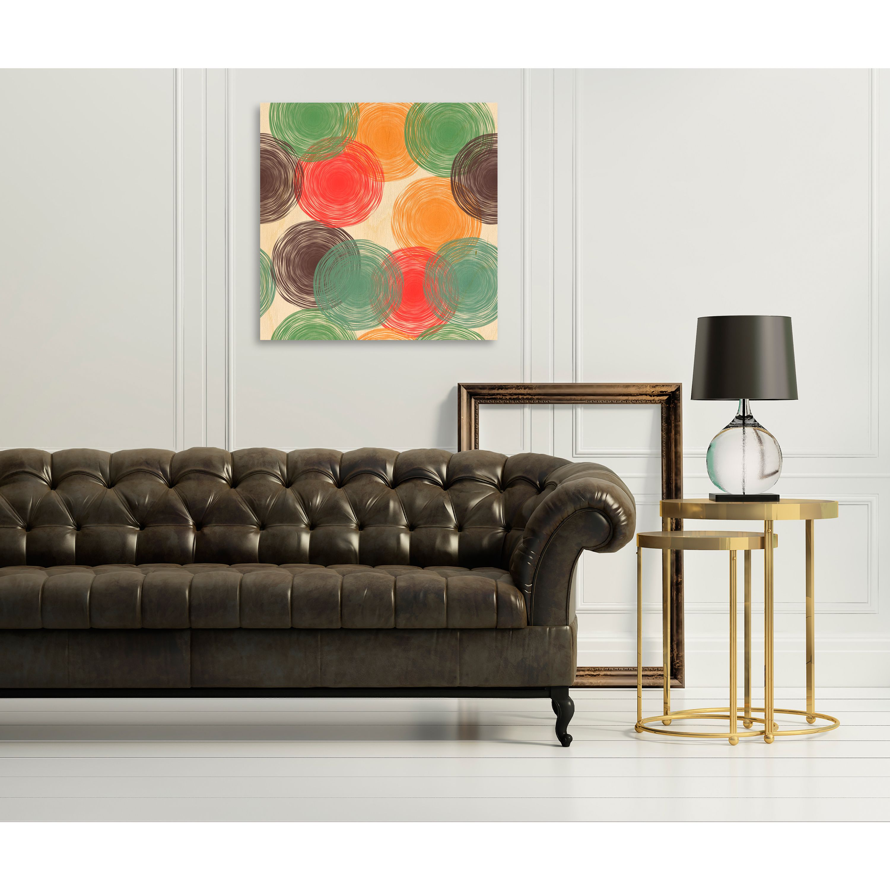 Gallery Direct Abstract Background with Hand Drawn Pastel Circles Print on Birch Wall Art