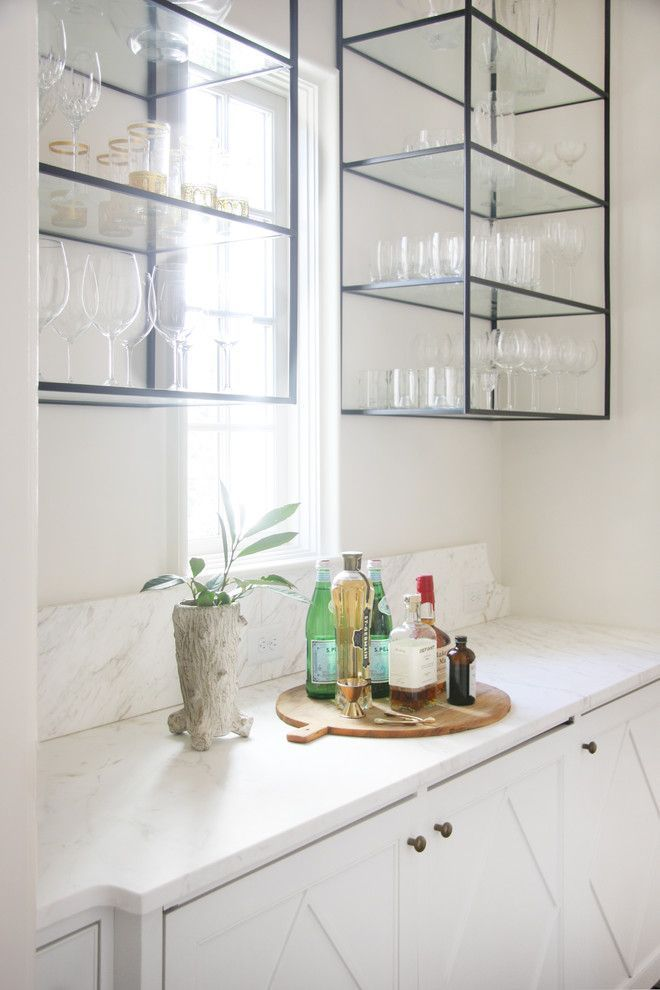 True Homes Charlotte Nc for a Transitional Home Bar with a Glass and ...