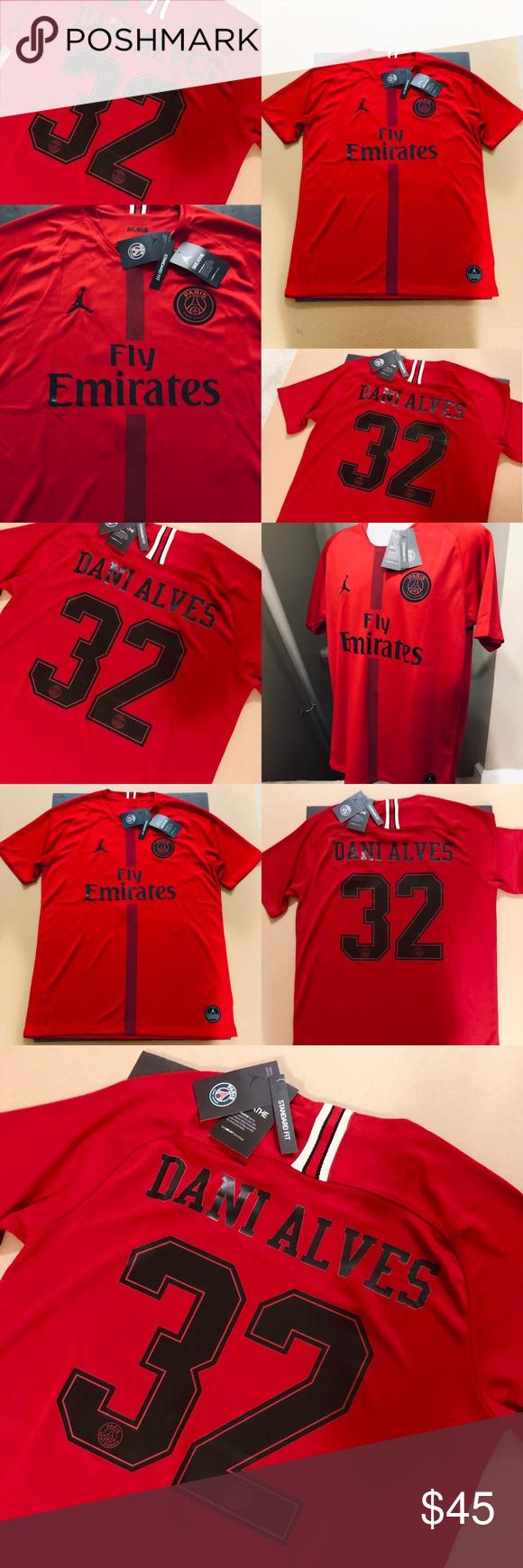 db951b2e4b8 Jordan Dani Alves #32 PSG Paris Soccer Jersey 2018 JORDAN Paris  Saint-Germain FC (PSG) • Futbol Soccer Jersey • Michael Jordan Brand Dani  Alves #32 ...