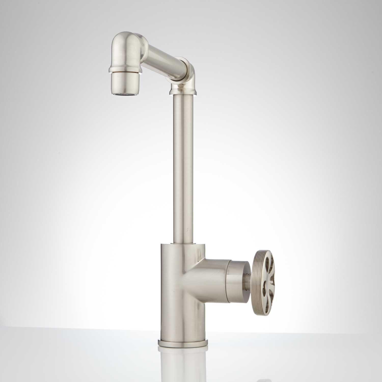 Edison Tall Single Hole Brass Bathroom Faucet with Pop-Up Drain ...