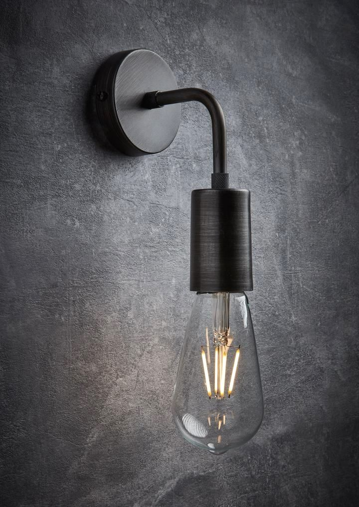 This Simple Amp Sleek Pewter Vintage Edison Wall Light By
