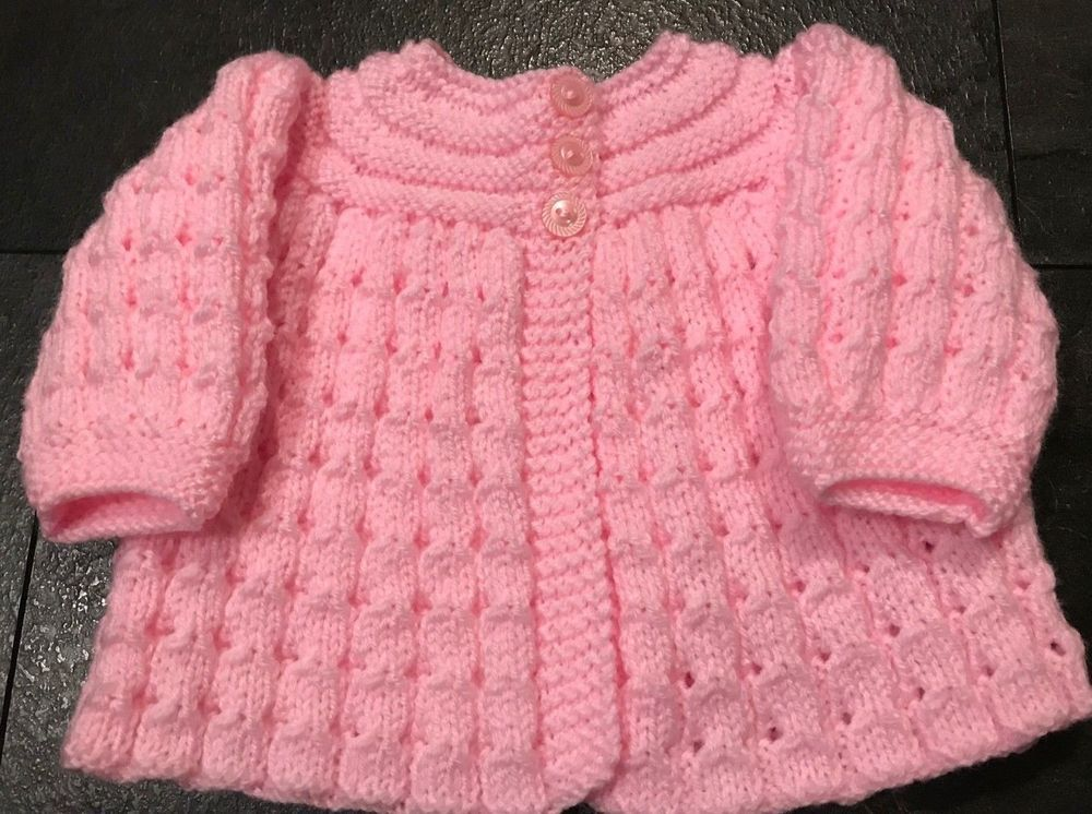 ea55b6e13 Details about New Hand knitted Baby Girls Pink Matinee cardigan 0-3 ...