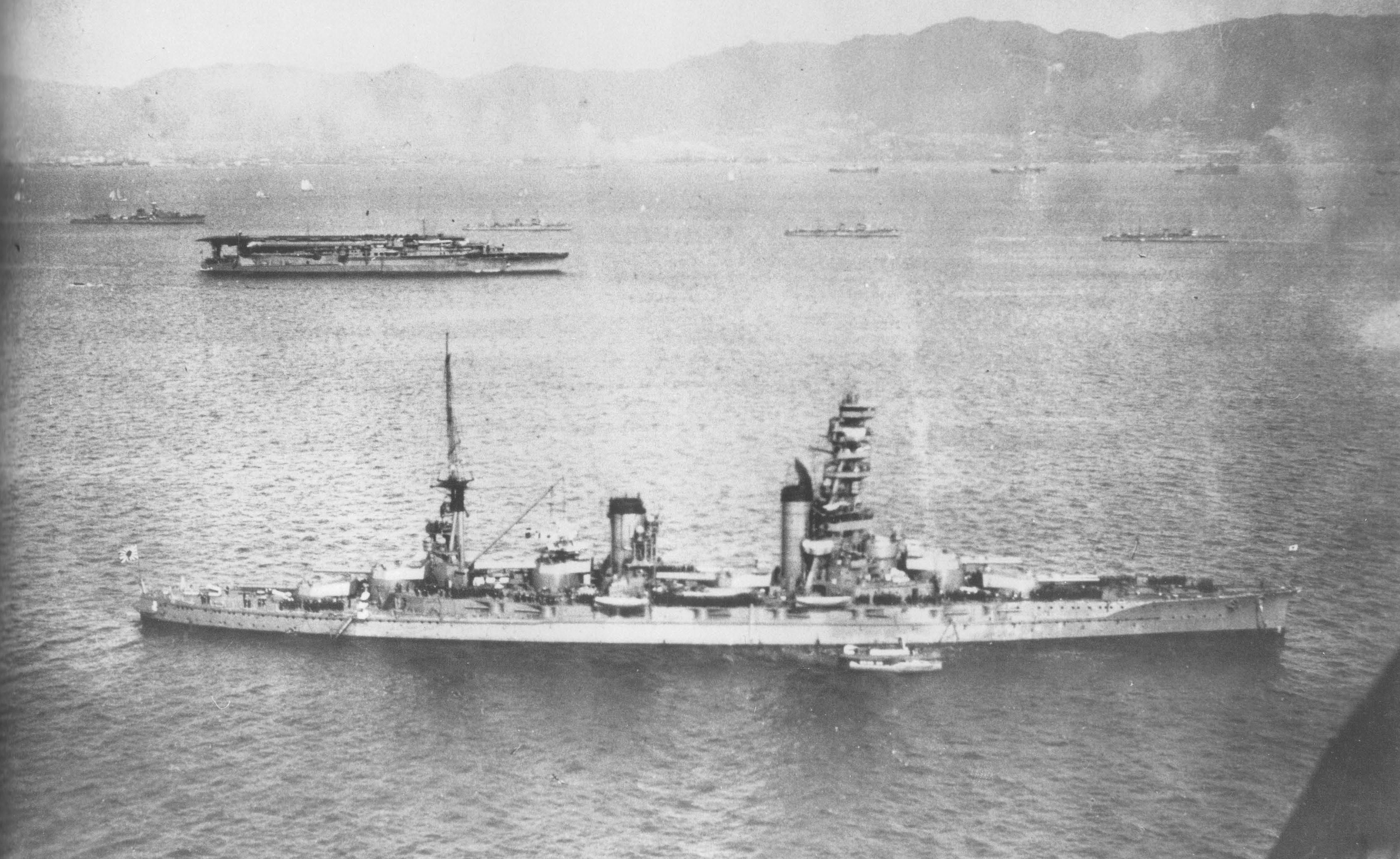 Japanese battleship in the sea, 1930s 93