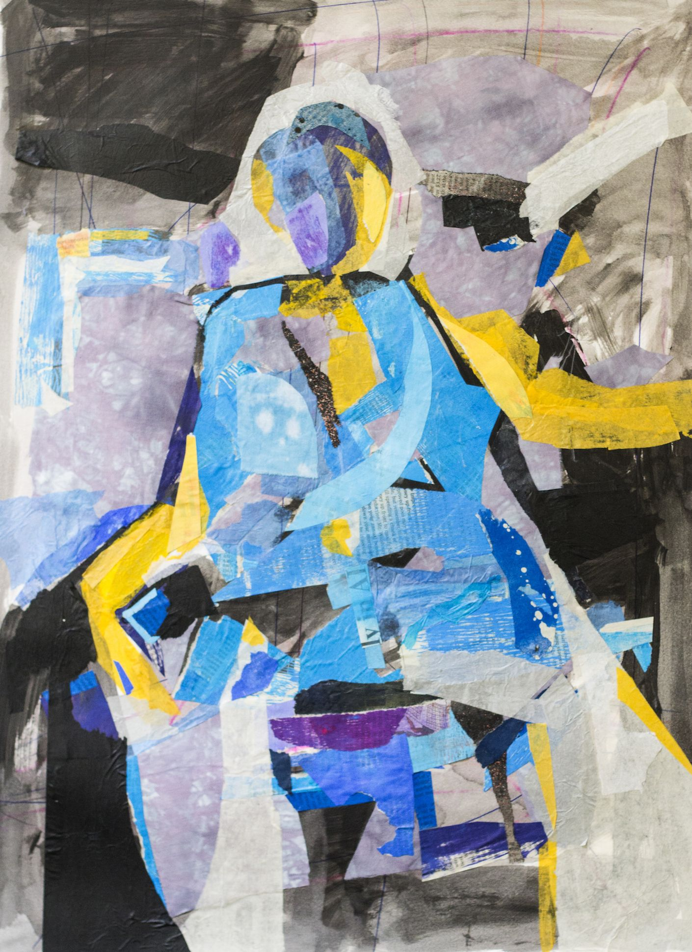 Tangled Up in Blue by GJ Gillespie. Collage. 20 x 18. 2015