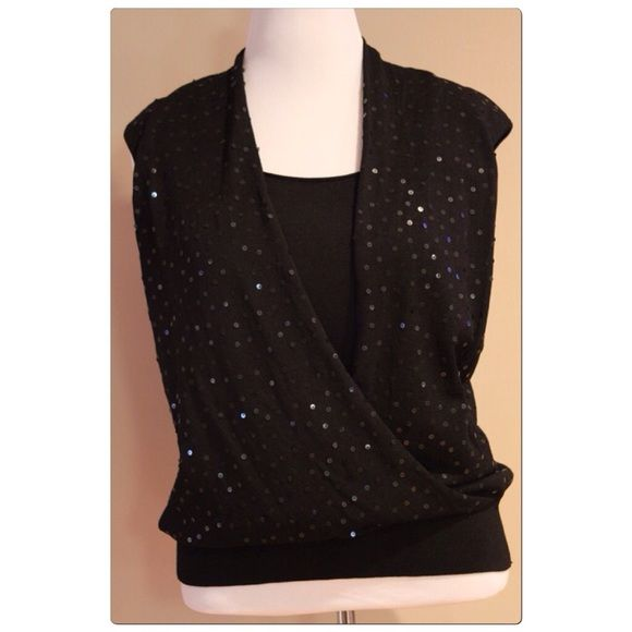 ba0625f053f3 ️Jones New York Wrap Top With Sequin Jones New York Black Sleeveless Sweater  ‼