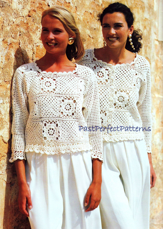 Vintage Crochet Pattern Granny Square Tops Sweater Jacket Vest Top ...