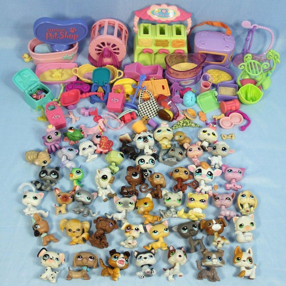 Littlest Pet Shop Huge Lot Of 50 Random  Pets LPS Dogs Cats Monkeys Pigs Bear