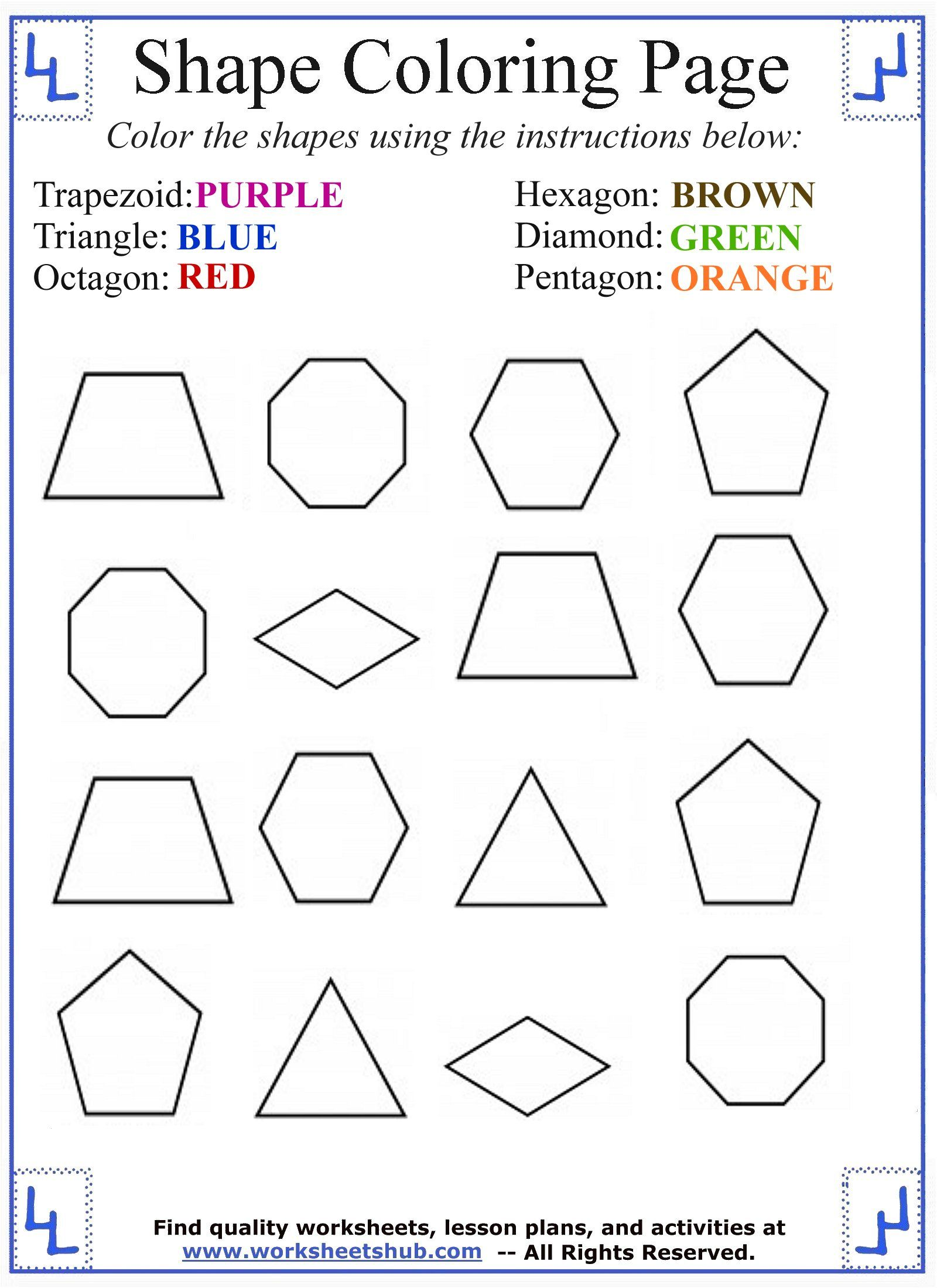Coloring Shape Names 2 In