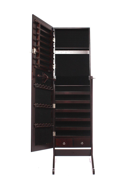 Brown Jewelry Armoire Mirrored Cabinet Storage Stand Rings Necklaces Bracelets in Bijoux & montres, Boîtes à bijoux, présentoirs, Porte-bijoux, présentoirs | eBay