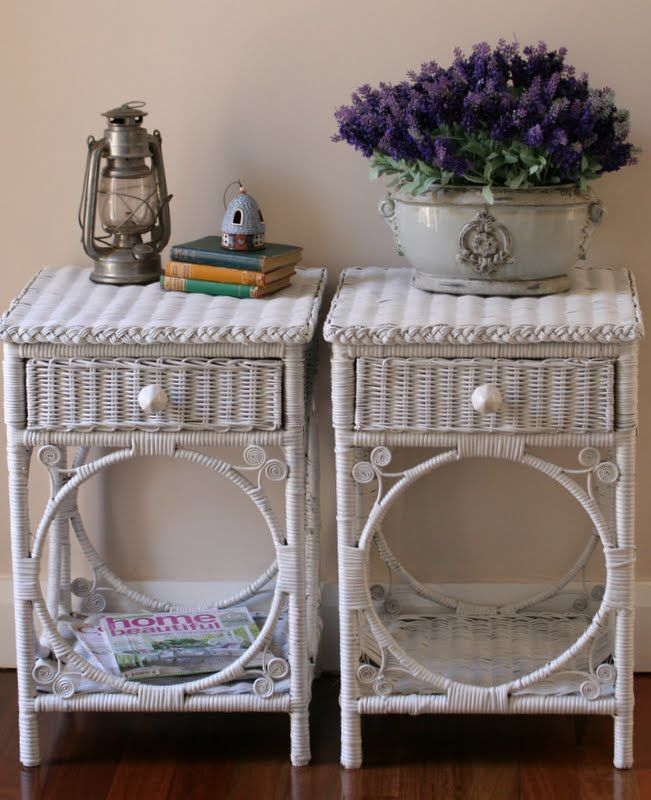 Rattan Bedroom Sets Asian Paints Bedroom Colours Combination Bedroom Renovation French Style Bedroom Chairs: Painted White Wicker Bedside Tables