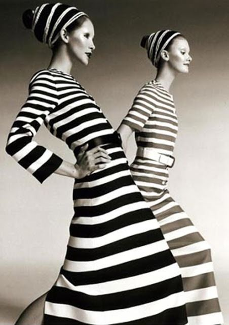 Cathee Dahmen and Leslie Ann, Harper's Bazaar, Paris, March 1971 Fashion-GERARD PEPART for NINA RICCI. Bold Horizontal Stripes on Silk, One in Black the Other in Royal Blue. Neal Barr Photography