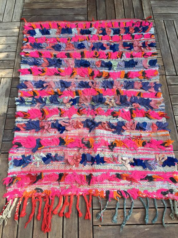 Boucherouite rug indigo blue fuschia orange by sosthen on Etsy