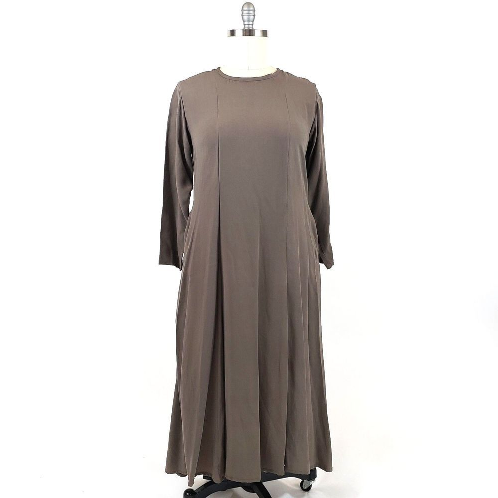 Flax long silk dress large brown taupe pockets tie back modest boho