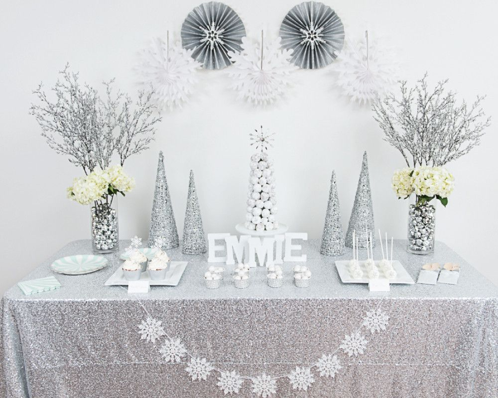 Everything for a gorgeous white winter wonderland birthday party all ...