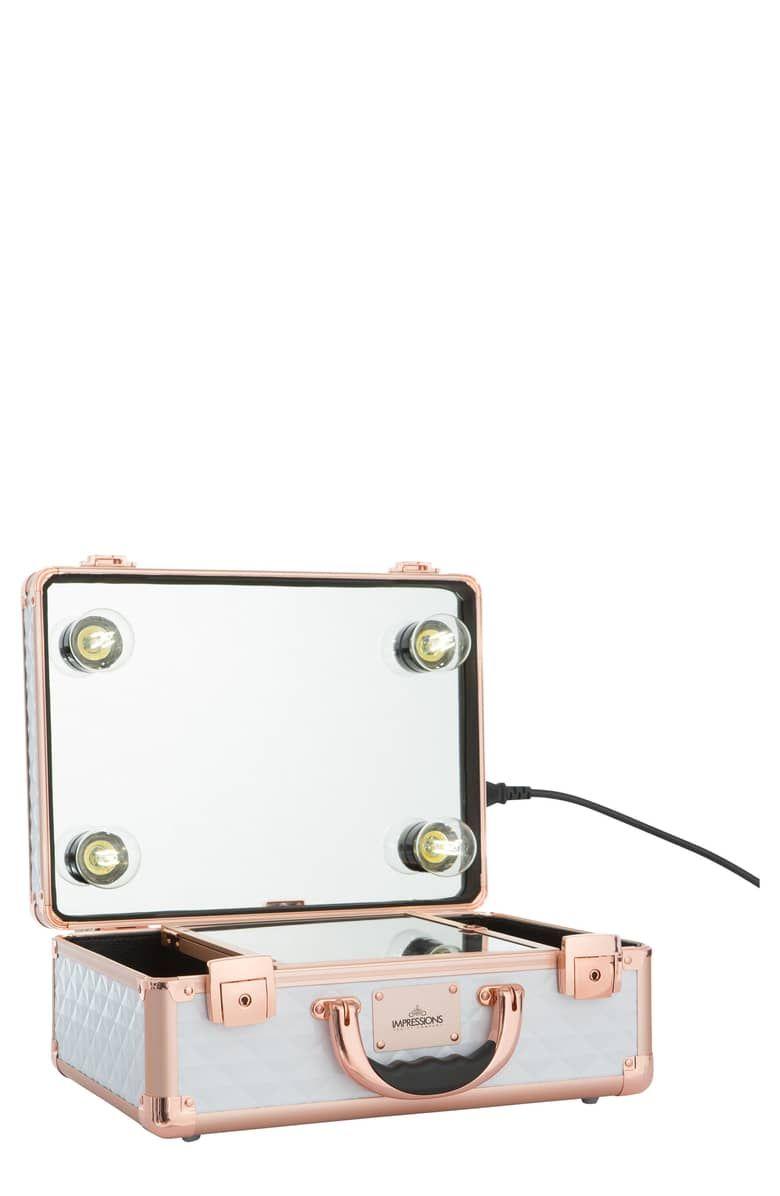 Slaycase 2 0 Vanity Travel Case Main Color White Rose Gold Studded Makeup Travel Case Impressions Vanity Travel Case