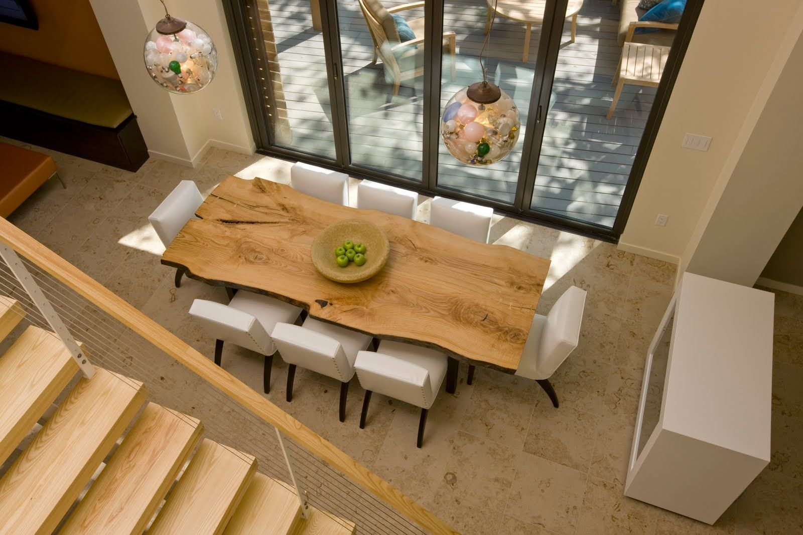 Wood Tables White Chairs Wood Slab Dining Table Dining Room