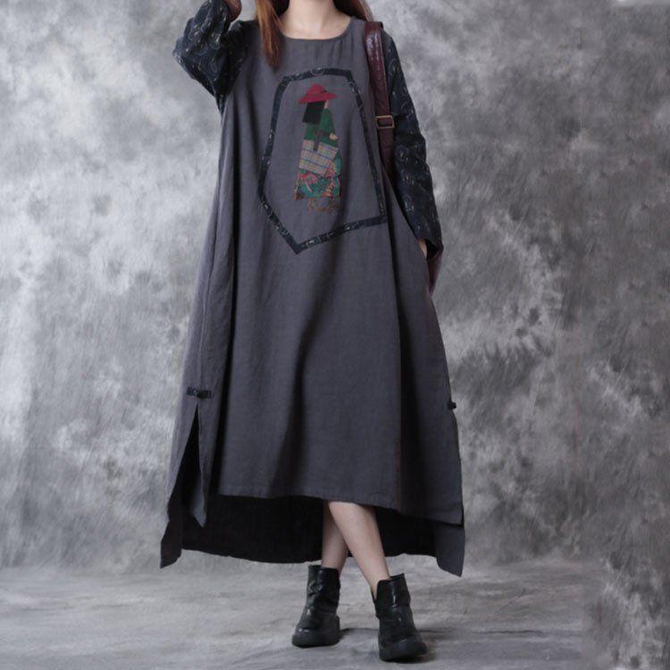 Retro Autumn Stitching Loose Linen Dress