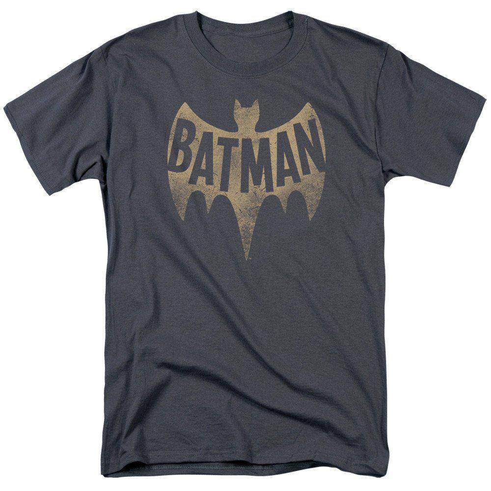 Faded Logo Adult Ringer T Batman Shirt