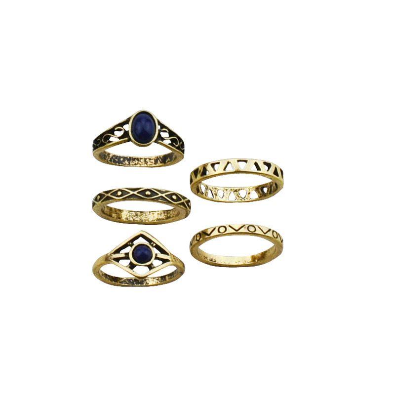 Nouveau mode accessoires vintage bijoux antique plaqué or bague set 1 lot = 5 pièces pour femmes fille belle cadeau R4047