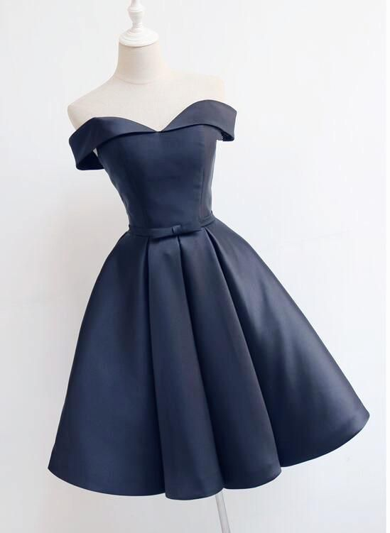 Beautiful Navy Blue Short Off Shoulder Sweetheart Party Dress, Navy Blue Party Dress, Homecoming Dresses