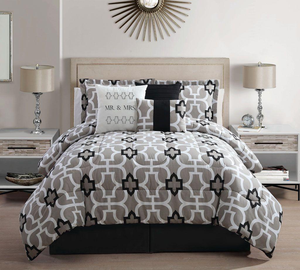 7 Piece Queen Mr. And Mrs. Print Comforter Set