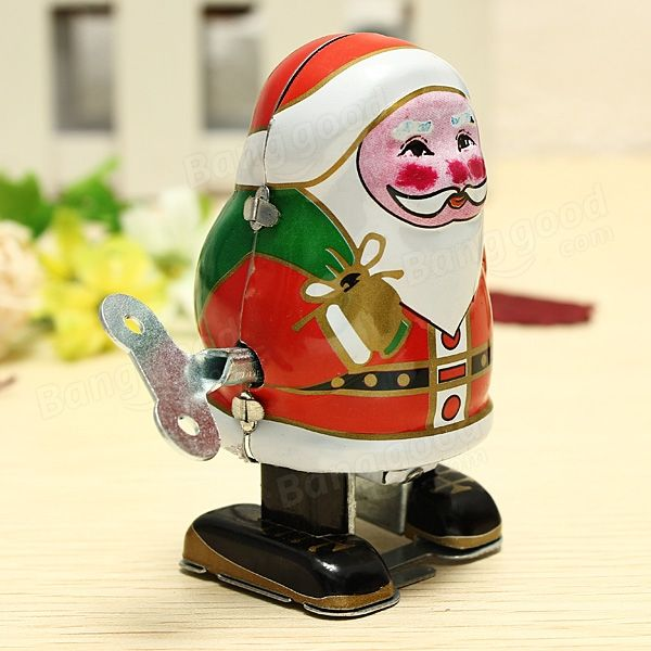 Vintage Wind Up Tin Toy Clockwork Spring Santa Claus Classic Retro ...