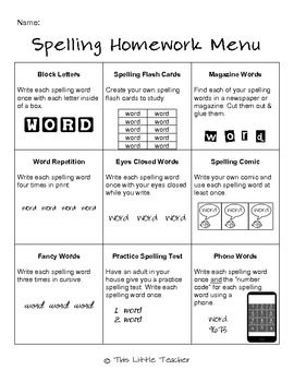 Multiple Spelling Homework Menus for Grades 2, 3, 4 | Madison99
