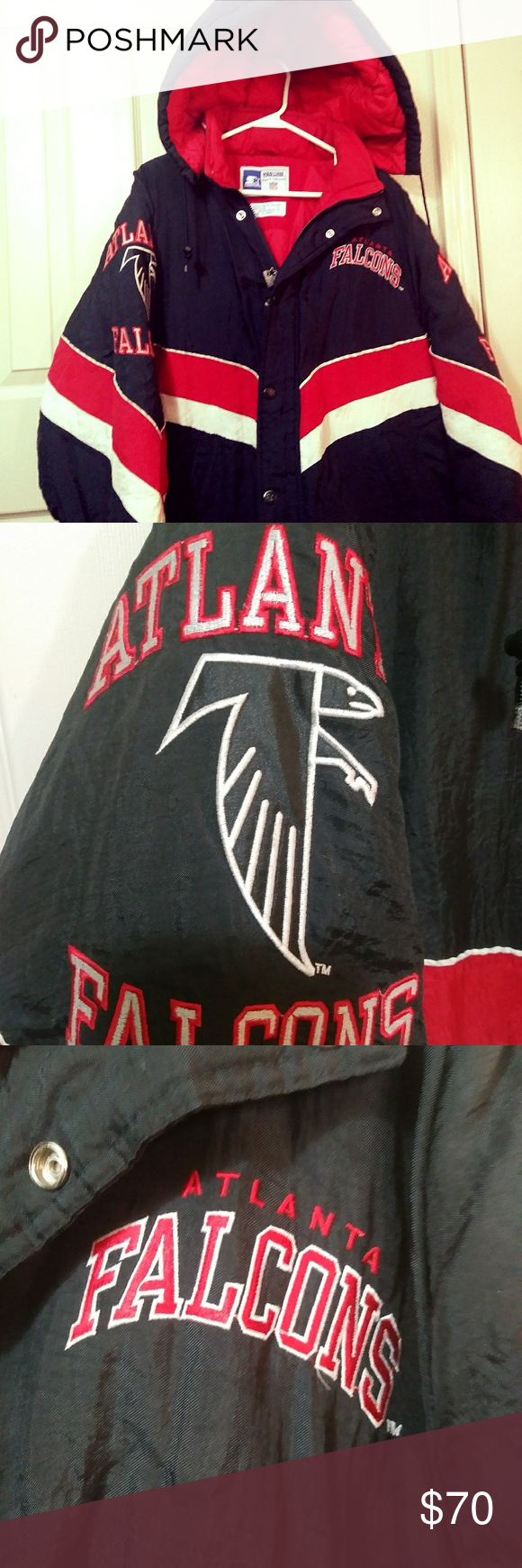 Vintage 90s Nfl Atlanta Falcons Starter Jacket Puffy Jacket Atlanta Falcons Clothes Design