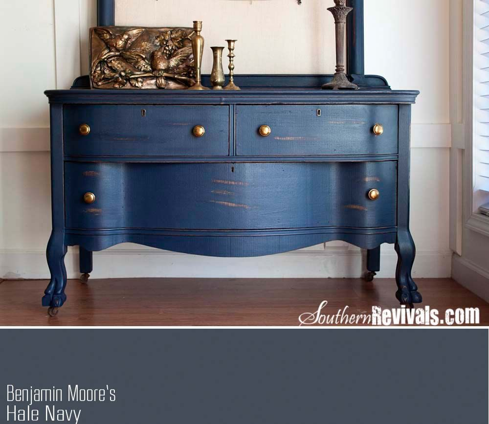 Client Files Vintage Sideboard Buffet Dresser Makeover Southern Revivals Benjamin Moore Hale Navy Not Chalk Paint But Well Done