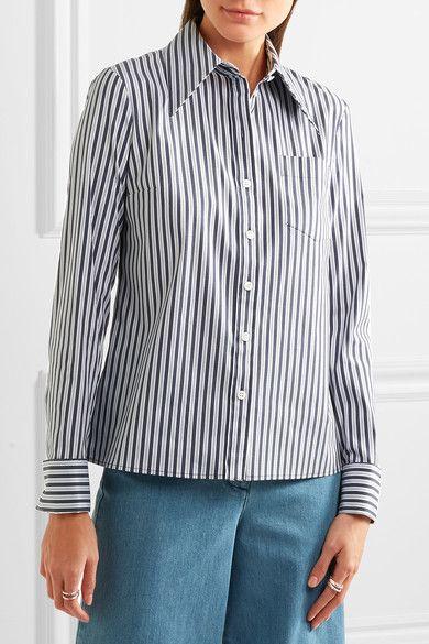 f8cdb5d8 Michael Kors Collection - Striped Stretch Cotton-blend Poplin Shirt - White  - US12