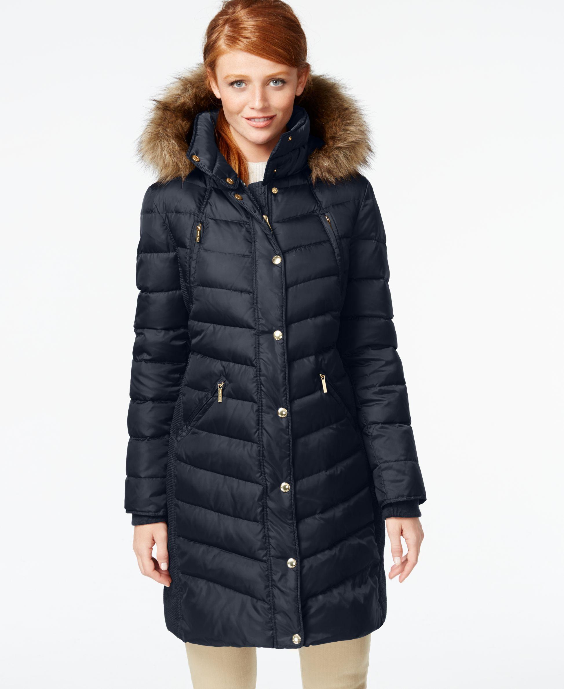 Michael Michael Kors Hooded Faux Fur Trim Puffer Coat Coats Women Macy S Down Puffer Coat Hooded Faux Puffer Coat [ 2378 x 1947 Pixel ]