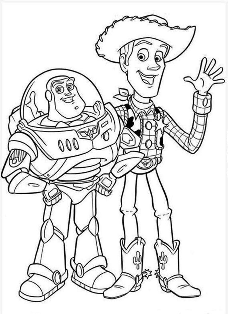 Buzz Lightyear Coloring Pages With Woody Toy Story Coloring