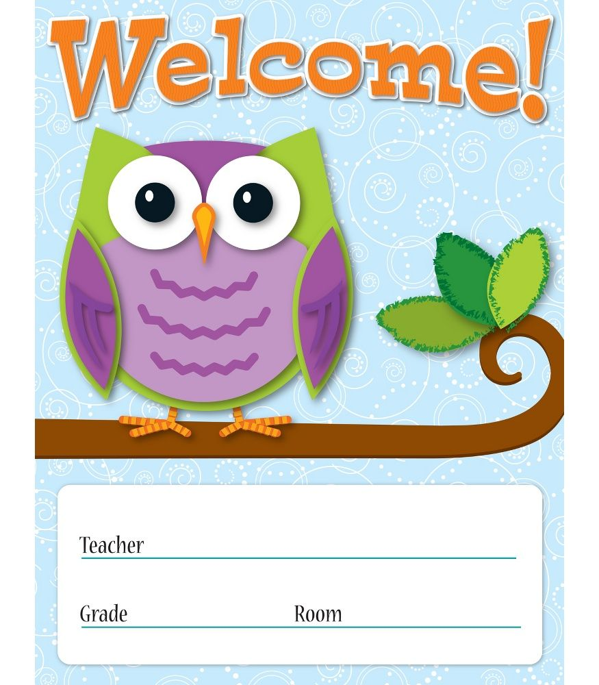Classroom Welcome Decor : Colorful owls welcome chart classroom décor from carson