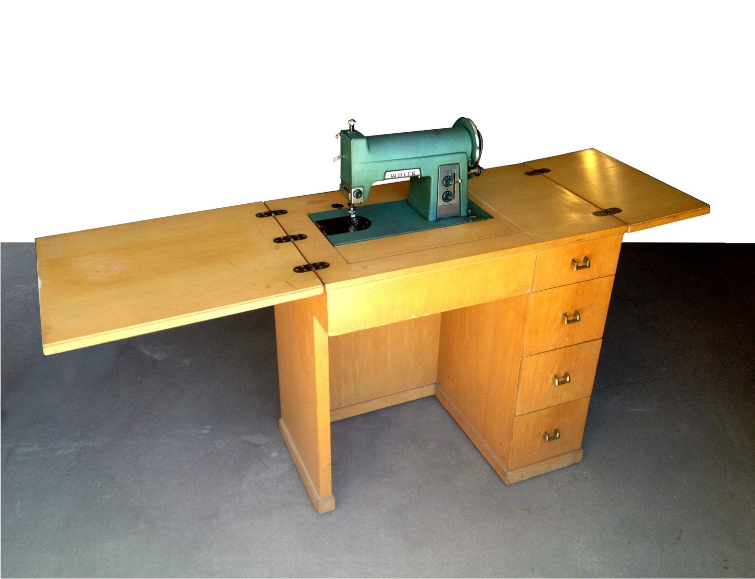 Popular Items For Natural Finish Oak Wood Sewing Table On Vintage Wood  Folding Sideboards With Storage Base Each Size Drawers As Well As Fold Out  Tables ...