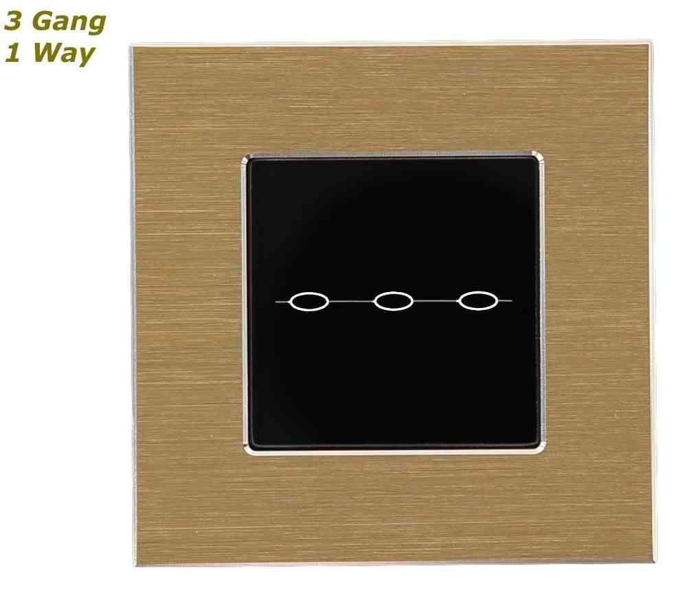 GLSTouch Designer Gold & Black Brushed Aluminium Touch Light Switch (On/Off) 3 Gang 1 Way