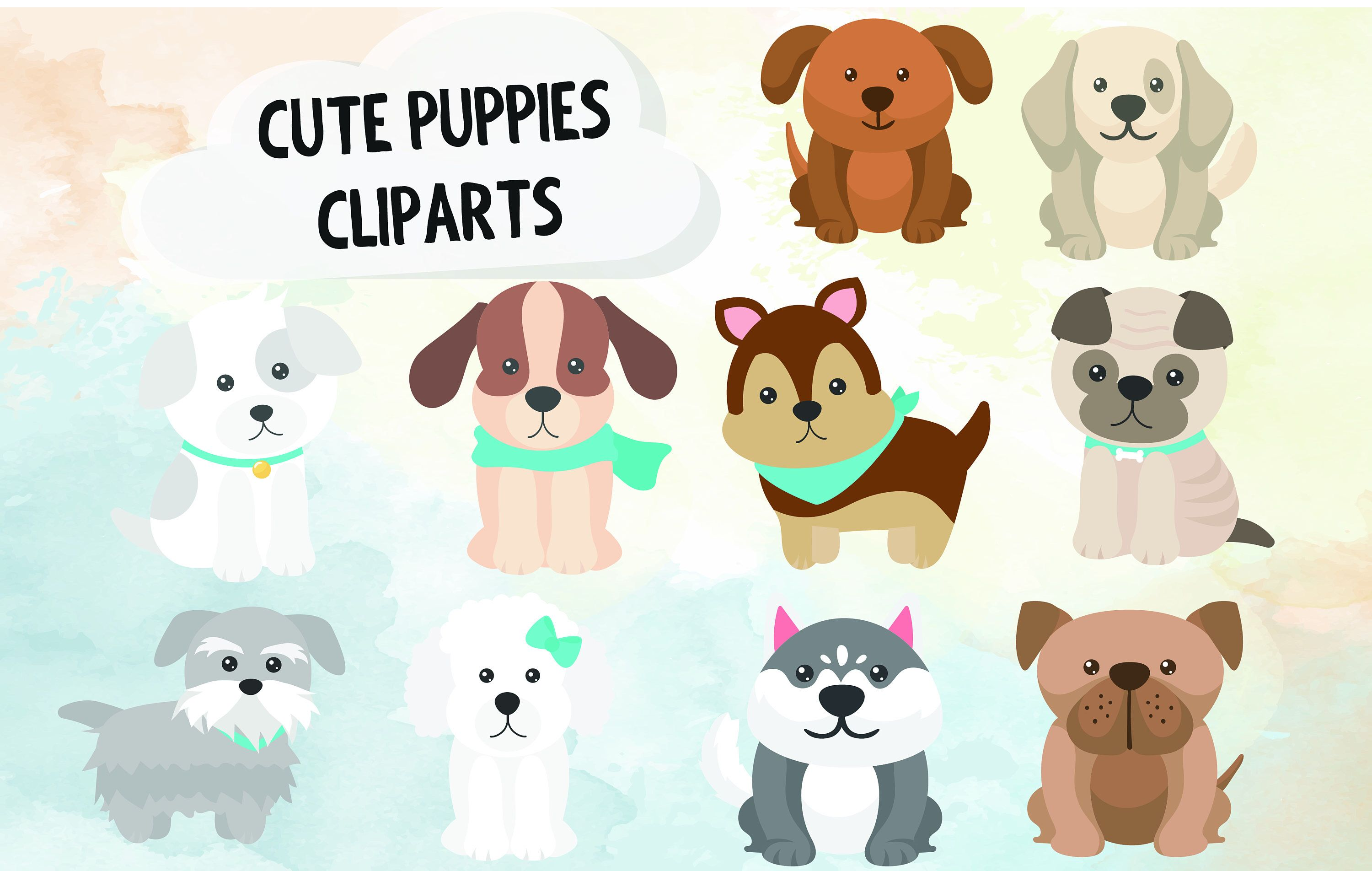 10 Puppies Clipart Baby Animals Clipart Cute Dogs Clipart Cute
