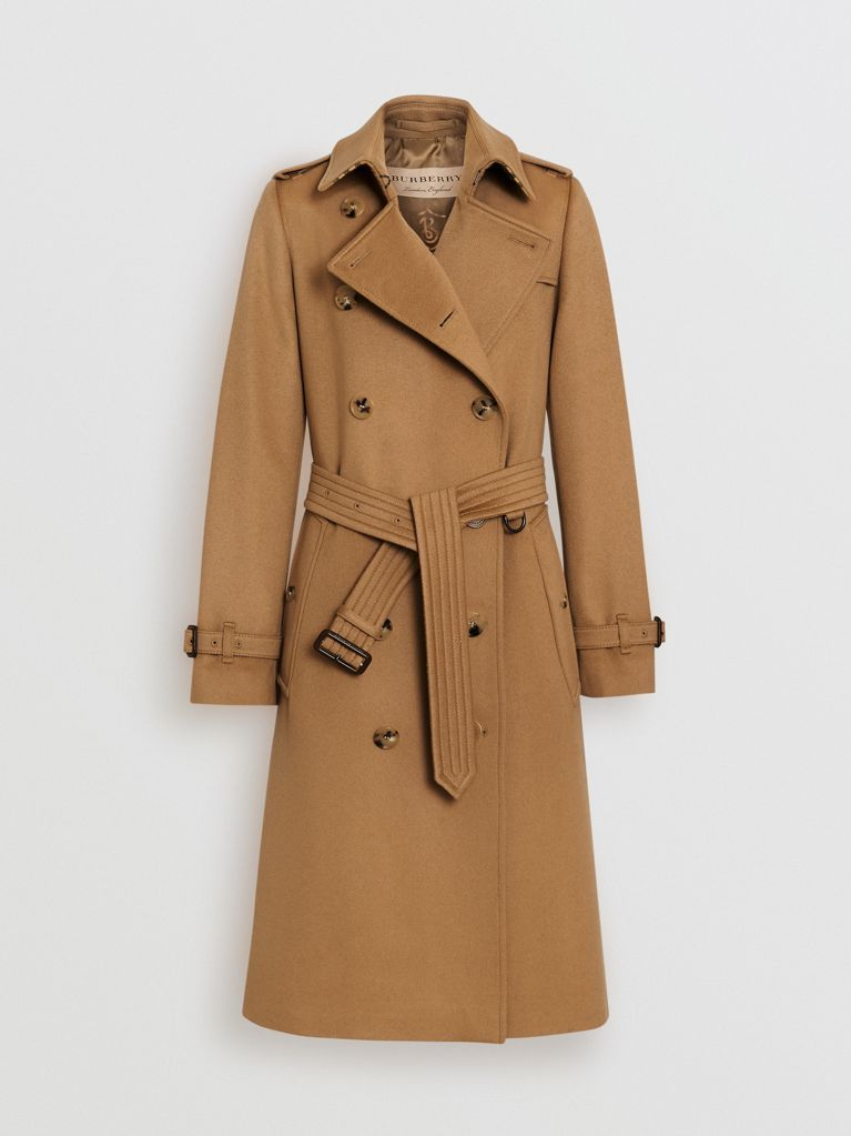 90b2717f57c Trench coat in cashmere (Cammello Medio) - Donna