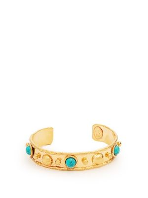 Sylvia Toledano Stone Massaii Bracelet in Gold-Plated Brass with Turquoise Chain KFa2WKCQ