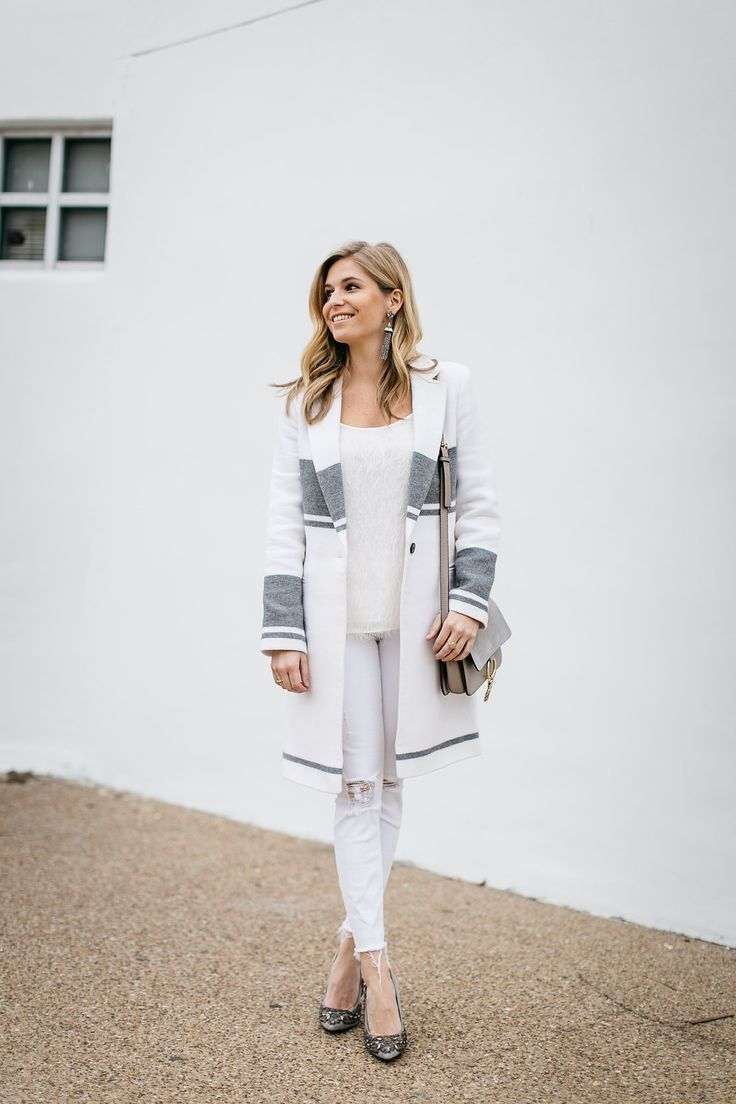 This winter white stripe coat has gotten me several compliments! The perfect winter white outfit is a great idea for this time of year.