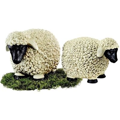 Counting Sheep Garden Statues (Set of 2). Counting sheep does not just belong to the realm of dreamtime any more! Once a sign of prestige as they munched on Victorian lawns, our curly-fleeced pair will happily graze in your flowerbeds or watch over your woolens in a guest bedroom. #countingsheep #sheep #gardendecor