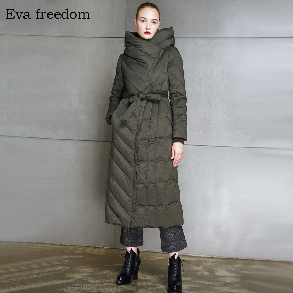 912b7e99725a5 Eva freedom high end women s winter down jacket 2018 long slim and thick  coat -in Down Coats from Women s Clothing   Accessories on Aliexpress.com