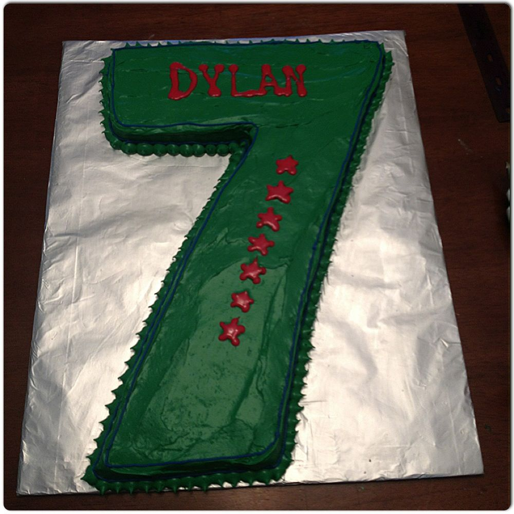 Birthday Cake For 7 Year Old Boy Would Go Well With Sports Or Dino Theme By Jillees Goodees