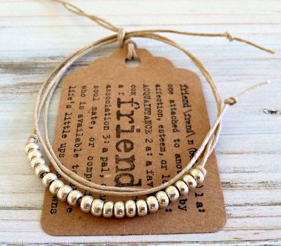 Grano de oro o plata amistad Wrap Pulsera o tobillera w / etiqueta del regalo amigo