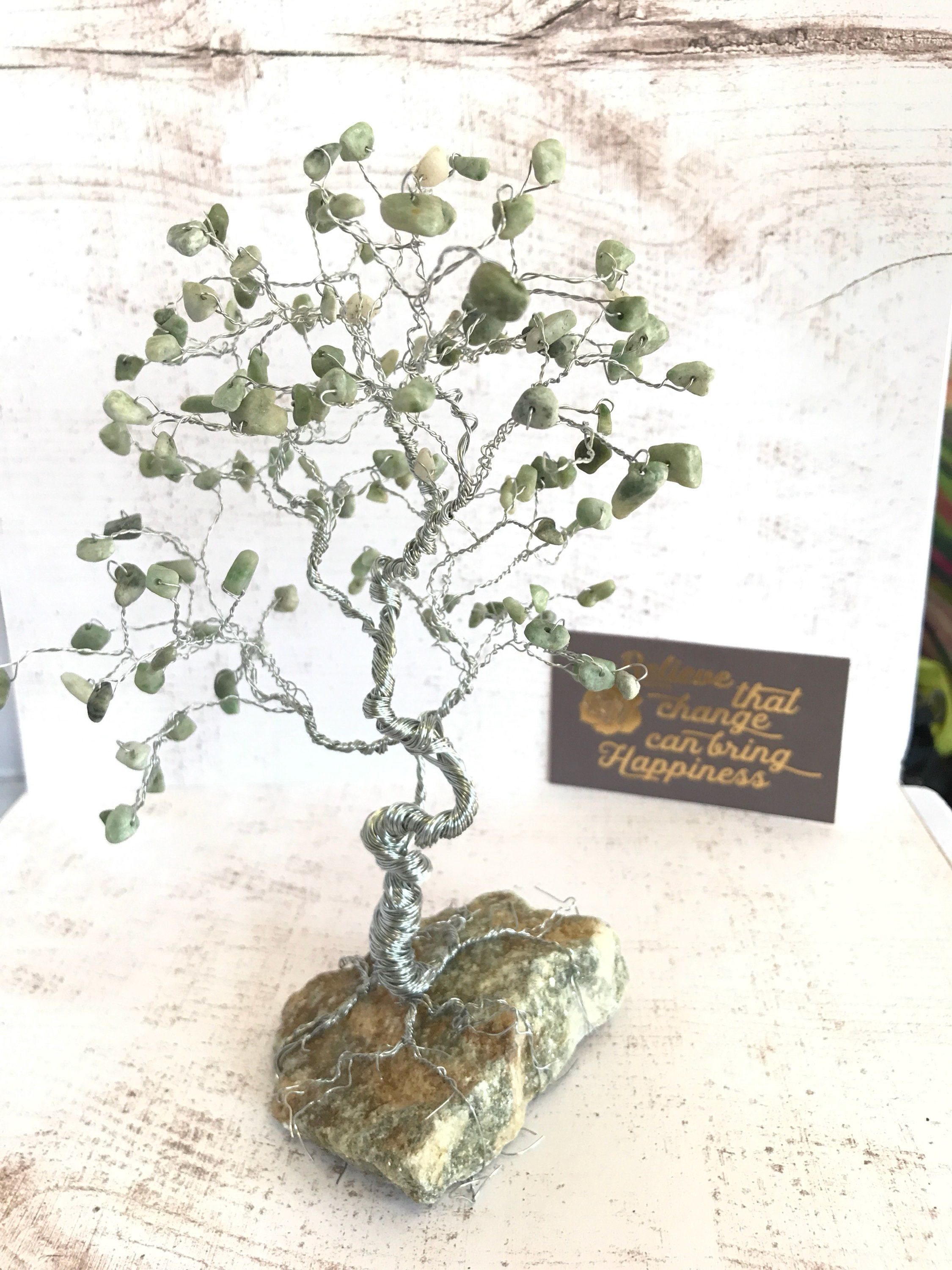 Light Jade Large Gem Tree, Tree of Life, Wire Sculpture, Green Home ...
